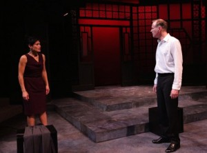 "Celeste Oliva and Barlow Adamson in a scene from Lyric Stage's ""Chinglish."""