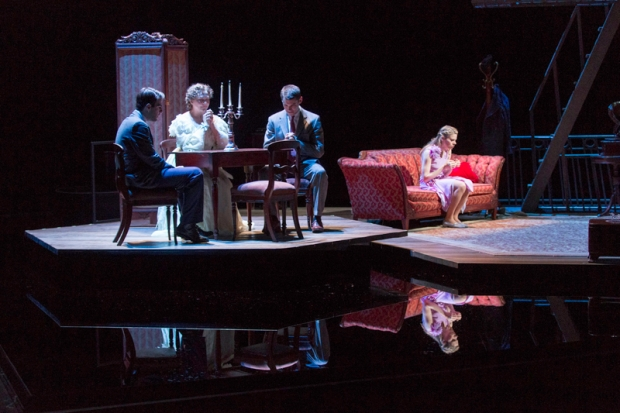 "From the left, Zach Quinto, Cherry Jones, Brian J. Smith and Celia Keenan-Bolger in ""The Glass Menagerie."" Photo: Michael J. Lutch"