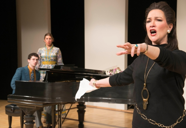 "Brendan Shapiro as Manny, Lindsay Conrad as Sharon and Amelia Broome as Maria Callas in the New Repertory Theatre's ""Master Class."" Andrew Brilliant/Brilliant Pictures."