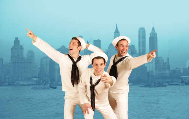 "Zachary Eisenstat, John Ambrosino, and Phil Tayler in ""On The Town.""  Photo by Mark S. Howard."