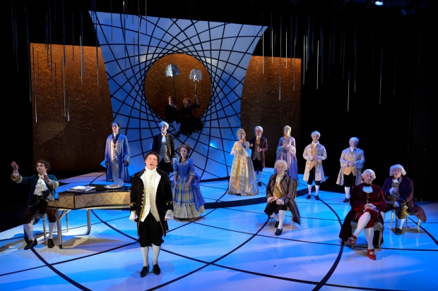 "Ben Evett as Salieri, center, and the cast of ""Amadeus."" Andrew Billiant/Brilliant Pictures"