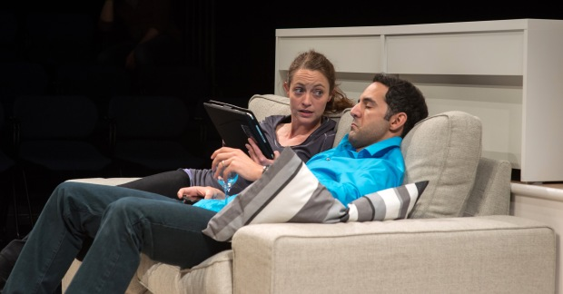 Stacy Fischer (Mama) & Nael Nacer (Dad) in Lisa Loomer's DISTRACTED, directed by Wesley Savick, performing through June 2 at Central Square Theater, 450 Massachusetts Avenue, Cambridge, MA. Photo: A.R. Sinclair Photography.