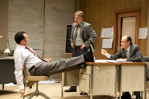"Todd Licea, Charlie Kevin, and Will LeBow in MRT's ""Glengarry Glen Ross."" Photo: Meaghan Moore"