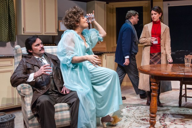 Bill Mootos, Stephanie Clayman, Steven Barkhimer and Liz Hayes in Alan Ayckbourn's ABSURD PERSON SINGULAR. Produced by The Nora Theatre Company. Now Playing through August 18 at Central Square Theater. Photo: A.R. Sinclair Photography.