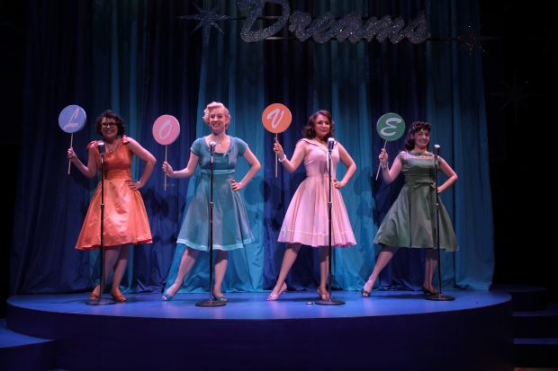 """From the left, Tess Primack, Laura Graczyk, Lee Harrington, and Brittany Rolfs in the Stoneham Theatre's production of """"The Marvelous Wonderettes."""" Photo Credit:  Carla Donaghey"""