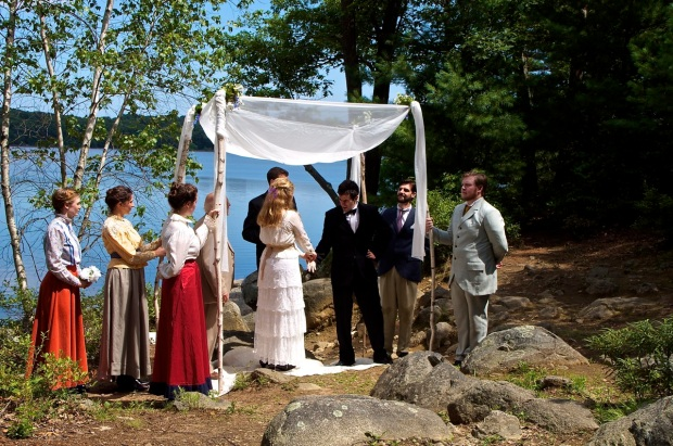 "The Lynn Reservoir in the Lynn Woods Reservation provides the backdrop for the wedding scene of Hero and Claudio in Arts After Hours' ""Much Ado About Nothing."" Photo: Arts After Hours."