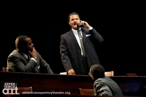 "From the left, J. Bernard Calloway as Ralph Abeernathy, Brandon J. Dirden as Martin Luther King and William Jackson Harper as Stokely Carmichael in ""All The Way."" Photo Evgenia Eliseeva"