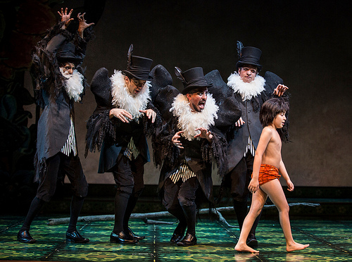 (L to R) Vultures Govind Kumar, Ed Kross, Nehal Joshi, and Geoff Packard with Akash Chopra in Tony Award winner Mary Zimmerman's new musical adaption of THE JUNGLE BOOK, photo: Liz Lauren
