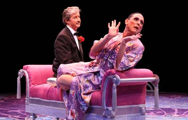 Charles Shaughnessy (Georges) and Johnathan Hammond (Albin) in North Shore Music Theatre's production of LA CAGE AUX FOLLES running through October 6, 2013. Photo©Paul Lyden