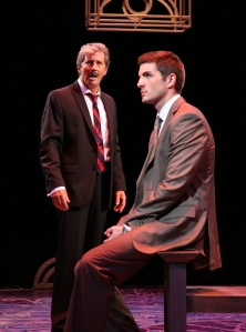 """Charles Shaughnessy (Georges)  sings """"Look Over There"""" to Zach Trimmer (Jean-Michel) in North Shore Music Theatre's production of LA CAGE AUX FOLLES running through October 6, 2013. Photo©Paul Lyden"""