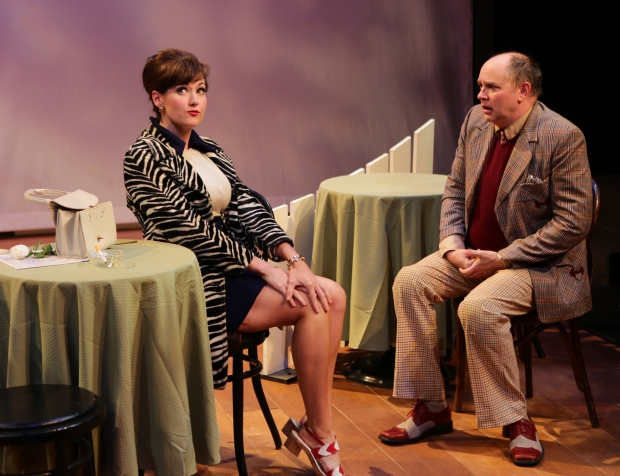 """Aimee Doherty and Neil A. Casey in the Lyric Stage Company's """"One Man, Two Guvnors."""" Photo by Mark S. Howard"""