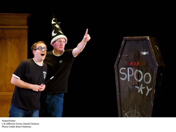 "Daniel Clarkson (on left) and Jefferson Turner (right) star in  ""Potted Potter: The Unauthorized Harry Experience – A Parody by Dan and Jeff,""  playing September 17 through October 6 at Boston's Paramount Center Mainstage (559 Washington St.) Photo courtesy of Potted Potter"