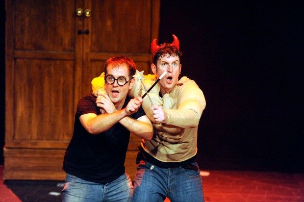 "Jefferson Turner and Daniel Clarker in ""Potted Potter"" at the Paramount Theatre.  Photo Courtesy Potted Potter"
