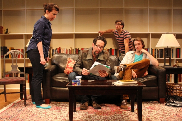 "From the left, Liz Hayes, Christopher Tarjan, Jordan Ahnquist and Jesse Hinson in Stoneham Theatre's ""Seminar."" Photo: David Costa"