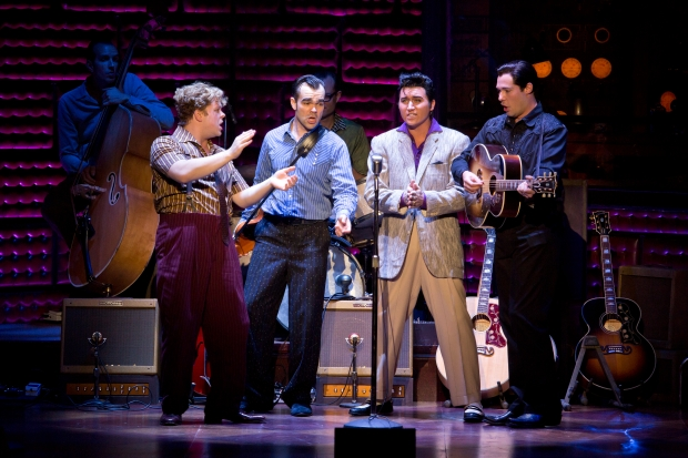"The National Touring Cast of ""Million Dollar Quartet"" performs ""Down by the Riverside."" Photo by Jeremy Daniel"