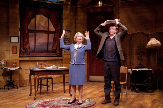 Photo credits: Jan Neuberger and Matthew Schneck in Mrs. Mannerly by Jeffrey Hatcher at Merrimack Repertory Theatre. Photo by Meghan Moore.