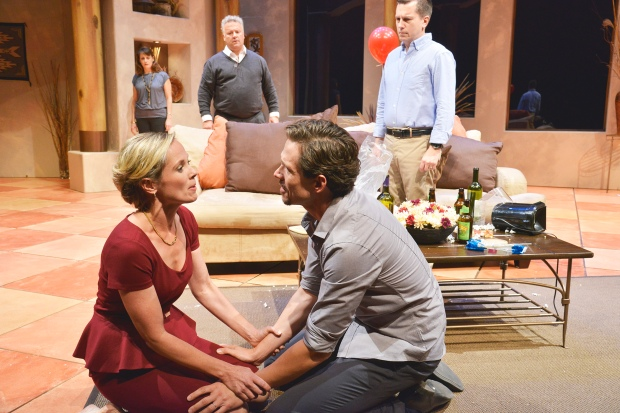 """L-R (Back) Abigail Killeen as Louise, Robert Pemberton as Trevor, John Kooi as Charlie L-R (Front) Cate Damon as Diane and Lewis D. Wheeler as Nick in the New Repertory Theatre's """"Rancho Mirage."""" Photo: Andrew Brilliant/ Brilliant Pictures"""
