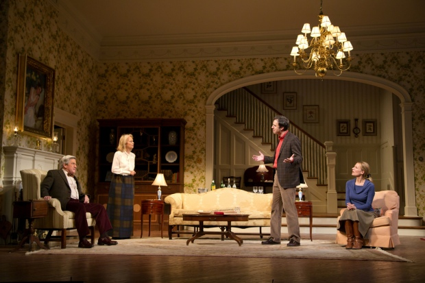 Richard Poe, Maureen Anderman, James Waterston, and Pamela J. Gray in the Huntington Theatre Company's production of AR Gurney'sThe Cocktail Hour. Photo: T. Charles Erickson