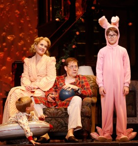 (L-R) NOAH BAIRD, ERIN DILLY, JOHN BOLTON and JAKE LUCAS in A CHRISTMAS STORY, THE MUSICAL. photo credit: (c) 2013 Carol Rosegg