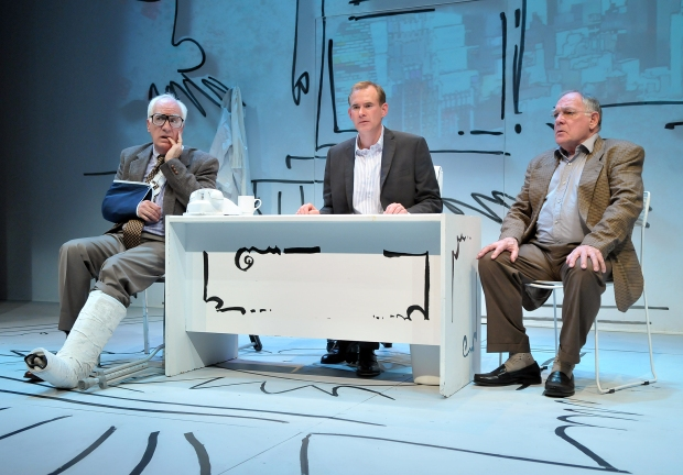 """From left:  Richard Snee, Barlow Adamson, and Ross Bickell in a scene from the SpeakEasy Stage Company World Premiere production of """"KURT VONNEGUT'S MAKE UP YOUR MIND,"""" running now through Nov. 30 at the Calderwood Pavilion at the Boston Center for the Arts, 527 Tremont Street in Boston's South End.  Tix/Info:  617-933-8600 or www.SpeakEasyStage.com.  Photo:  Craig Bailey/Perspective Photo."""