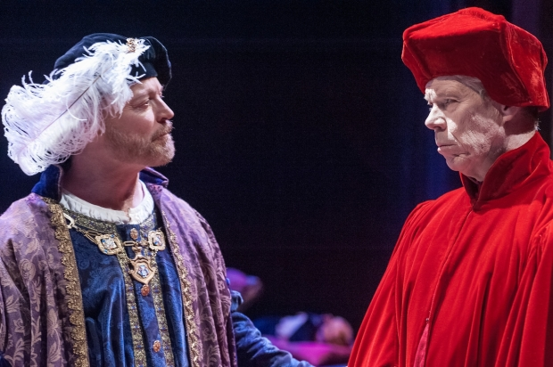 """Allyn Burrows as Henry VIII and Robert Walsh as Cardinal Wolsey in Actors Shakespeare Project's """"Henry VIII."""" Photo: Stratton McCrady"""