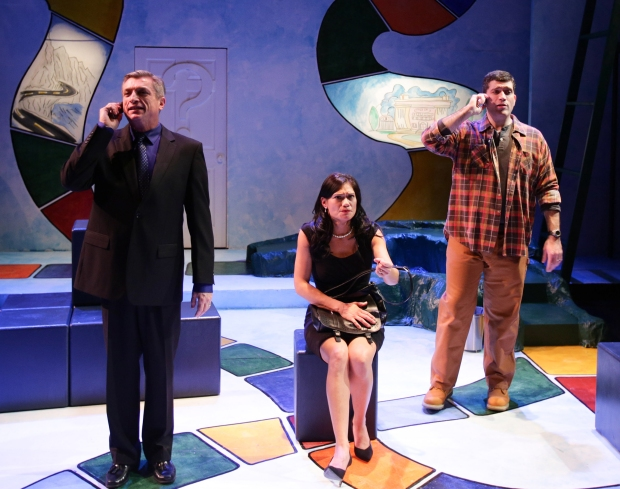 "Will McGarrahan, Celeste Oliva, and Mike Dorval in  ""Becky's New Car."" . Photo by Mark S. Howard"