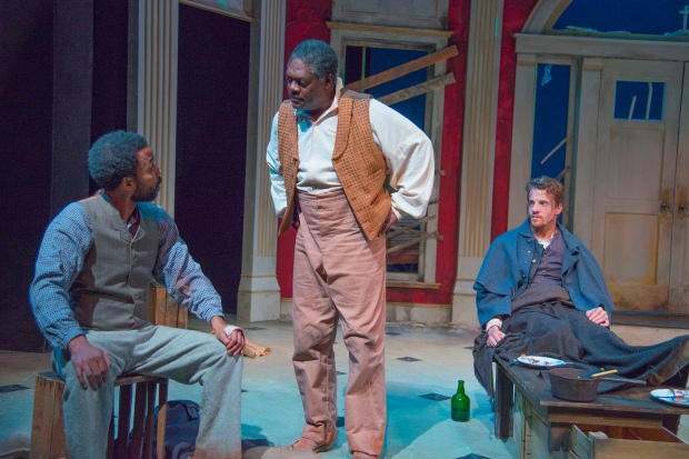 "L-R: Keith Mascoll as John, Johnny Lee Davenport as Simon, Jesse Hinson as Caleb in ""The Whipping Man."" Andrew Brilliant/Brilliant Pictures"