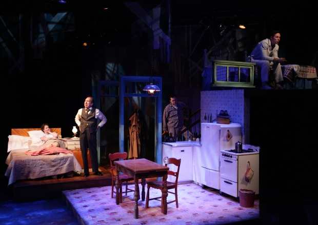 "Paula Plum, Ken Baltin, Joseph Marrella and Kelby T. Akin in ""Death of a Salesman."" Photo: Mark S. Howard"