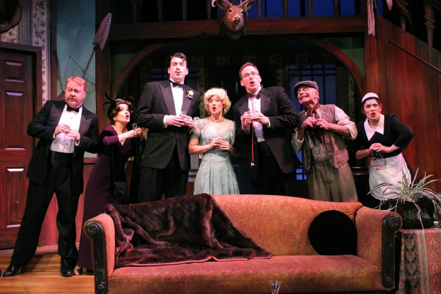"The cast in a scene from Stoneham Theatre's ""Something's Afoot."" Photo: David Costa"