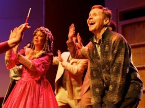 "Danny Bolton (Man in Chair) an th cast in a scene from ""The Drowsy Chaperone."" Photo: Zoe Bradford"