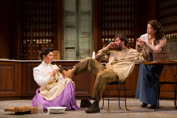 Christina Pumariega, Juan Javier Cardenas  and Rebecca Soler in the Huntington Theatre Company's production of Melinda Lopez's BECOMING CUBA. March 28 - May 3, 2014 at South End / Calderwood Pavilion at the BCA. huntingtontheatre.org. Photo T. Charles Erickson