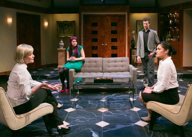 "Amelia Broome, Sasha Castroverde, Joe Short, and Celeste Oliva in ""Rich Girl."" Photo by Mark S. Howard"