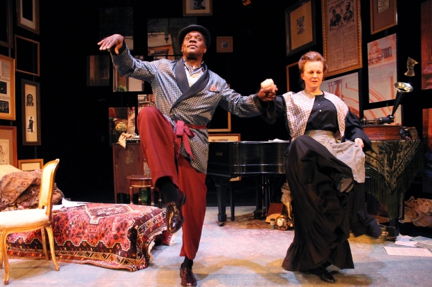 "Johnhny Lee Davenport and Laura Latreille in Stoneham Theatre's ""The Unbleached American."" Photo: David Costa"