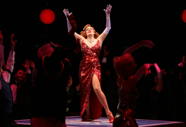 Danette Holden (Reno Sweeney) with the ensemble in North Shore Music Theatre's production of ANYTHING GOES playing June 4 - 15, 2014. Photo by Paul Lyden