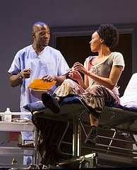 McKinley Belcher III and Miranda Craigwell in the Huntington Theatre Company production of Lydia R. Diamond's sharp new comedy Smart People directed by Peter DuBois, playing May 23 — June 29, 2014 at the South End / Calderwood Pavilion at the BCA. Photo: T. Charles Erickson