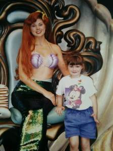"A young Adrienne Eller and Ariel at Disneyland. Eller is starring as Ariel in North Shore Music Theatre's production of Disney's ""The Little Mermaid."""