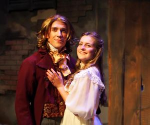 "Brandon Paine as Marius and Erin McMillen as Cosette in ""Les Miserables."" Photo: Zoe Bradford."