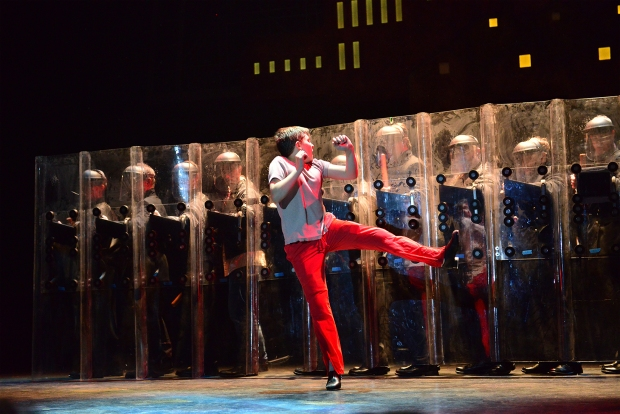 "Noah Parets as Billy Elliot and the ensemble in a scene from ""Billy Elliot, the Musical."" Photo: Gary Ng"