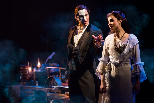 "Cooper Grodin, left, and Julia Udine perform ""The Music of the Night"" from ""The Phantom of the Opera."" Photo by Matthew Murphy"
