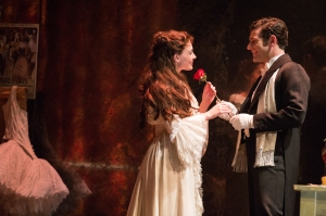 "Julia Udine and Ben Jacoby in a scene from ""The Phantom of the Opera."" Photo by Matthew Murphy"