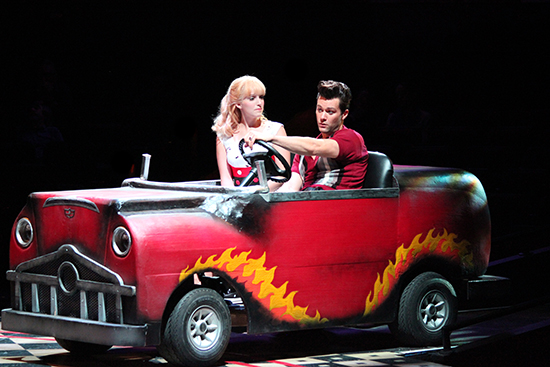 Ephie Aardema (Sandy) and Matthew Ragas (Danny) in North Shore Music Theatre's production of GREASE. August 12 - 24, 2014. Photo © Paul Lyden