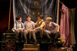 The Llewelyn Davies boys together. (Alex Dreier, Aidan Gemme, Sawyer Nunes, Hayden Signoretti) Photo: Evgenia Eliseeva