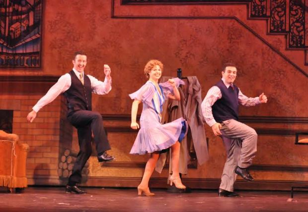 "Sean Quinn, Gillian Mariner Gordon and Edward Tolve in the Reagle Music Theatre Production of ""Singin' in the Rain."" Photo: Herb Philpott"