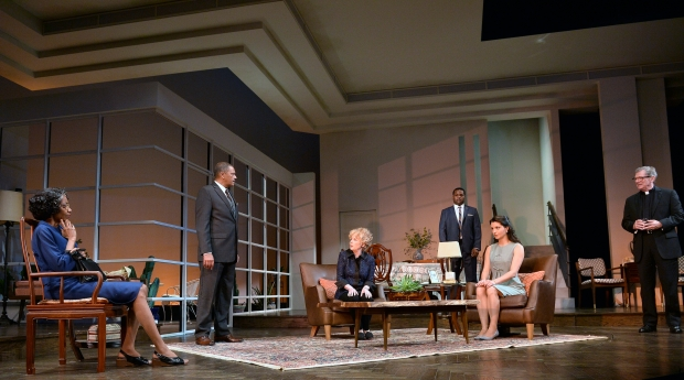 Adriane Lenox, Lonnie Farmer, Malcolm-Jamal Warner, Julia Duffy, Patrick Shea, and Meredith Forlenza in the Huntington Theatre Company production of Todd Kreidler's compelling family comedy Guess Who's Coming to Dinner directed by David Esbjornson, playing Sept. 5 – Oct. 5, 2014 at the Avenue of the Arts / BU Theatre. Photo: Paul Marotta