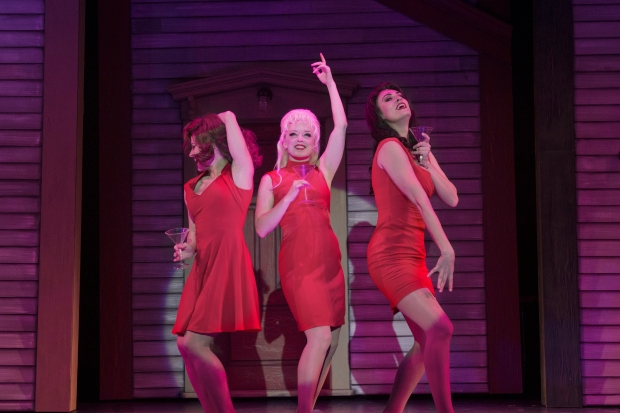 "Mamie Parris, Nancy Anderson, and Sara Gettelfinger in a scene from ""The Witches of Eastwick.""  (photo by Gary Ng)"