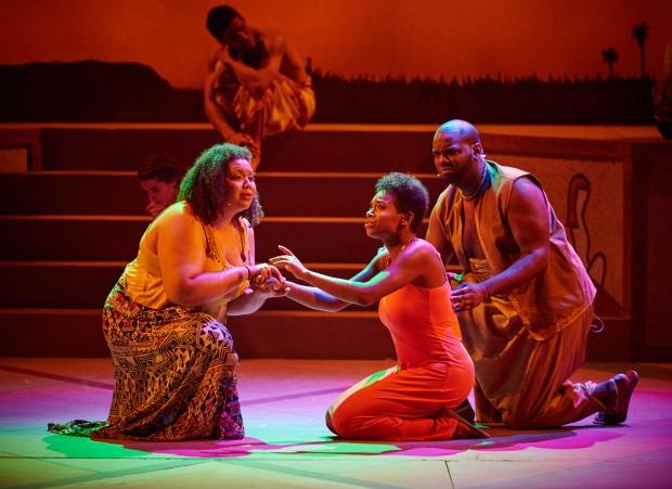 "Janett ""Becky"" Bass, Ta'Nika Gibson and Terrell Foster-James in a scene from ""Aida."" Photo: Matt McKee, Fiddlehead Theatre Photo:"