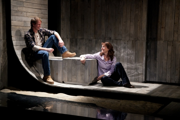 "Todd Lawson and D'Arcy Dersham in Merrimack Repertory Theatre's ""Dusk Rings a Bell."" Photo:  Meghan moore"