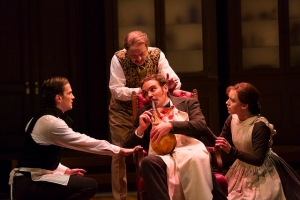 Tom Patterson, Lee Sellers, Michael Bakkensen (seated), and Amelia Pedlow in Elizabeth Egloff's provocative medical thriller ETHER DOME directed by Michael Wilson, playing Oct. 17 - Nov. 23, 2014 at the South End / Calderwood Pavilion at the BCA. Photo: T. Charles Erickson