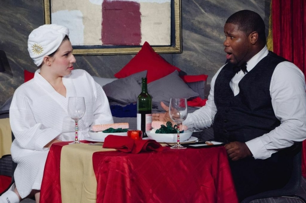 "Lauren Elias and Johnnie McQuarley in the Hub Theatre Company's  ""6 Hotels."" Photo: Hub Theatre Company"