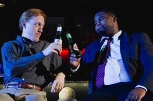 "Matthew  Zahnzinger and Johnnie McQuarley in ""6 Hotels."" Photo: Hub Theatre Company"